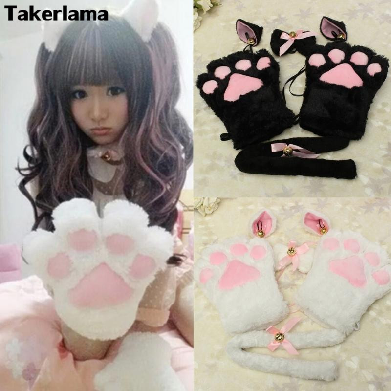 Takerlama 1Set New Anime Cosplay Costume Cat Ears Plush Paw Claw Gloves Tail Cute Sexy Women Party Christmas Halloween