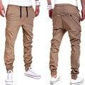 Más el Tamaño de Color Caqui Hombres Pantalones Caqui Pantalones Basculador Basculadores hombres Esposadas Joggers Pantalones de Algodón Europea Nuevo Negro Jogger
