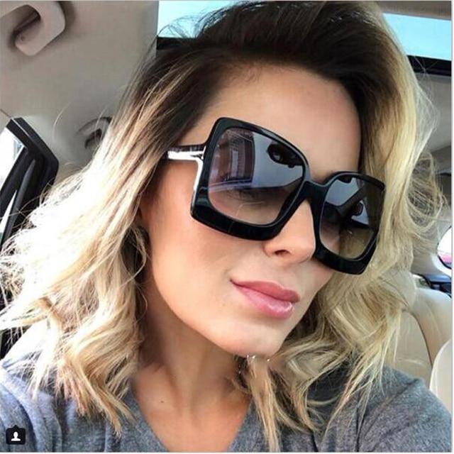 754560e039 Brand Design Oversized Sunglasses Lady Big Frame Black Square Shades Vintage  Sun Glasses For Women Summer glasses UV400 Oculos