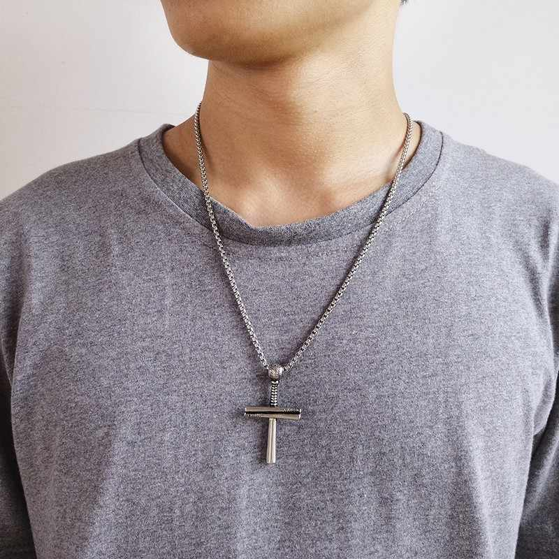 Awesome Baseball Player and Stacked Baseballs Bat Cross Pendant Necklace Stainless Steel Faith Male Jewelry 24in