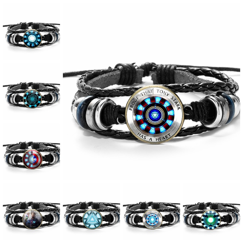 3D Marvel Leather Bracelet The Avengers Iron Man Action Tony Stark Arc Reactor Printed Glass Gem Charm Bracelet Bangles