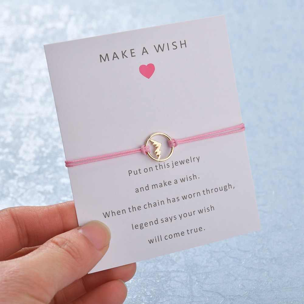 2019 ใหม่ Make A Wish card สร้อยข้อมือ elegant 7 สีเชือกโซ่ปรับรูปร่างภูเขาจี้สร้อยข้อมือผู้หญิง