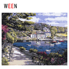 WEEN Beach Town Diy Painting By Numbers Abstract Lake Boat Oil On Canvas Tree Cuadros Decoracion Acrylic Home Decor