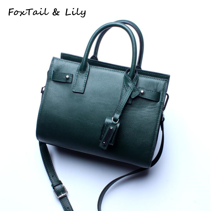 FoxTail & Lily Summer 2018 Genuine Leather Handbags for Women Brand Designer Small Ladies Crossbody Shoulder Bags High Quality burminsa brand winter round saddle genuine leather bags smiley designer handbags high quality shoulder crossbody bags for women