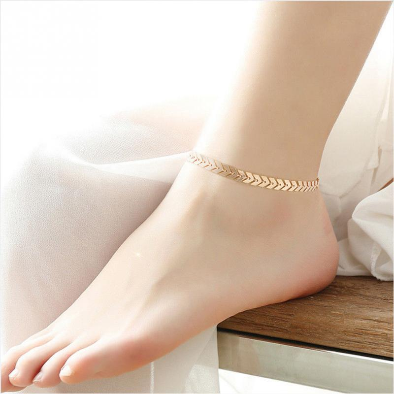 KBJW EmbellishmentGold Silver Color Plated Metal Leaf V Pattern Barefoot Ankle Foot font b Jewelry b