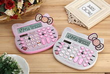 2016 New 12 digit pink cute hello kitty solar calculator wholesale calculator no voice cute calculator