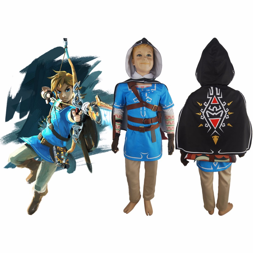 Us 179 0 Kids Boys The Legend Of Zelda Breath Of The Wild Link Outfit Uniform Cape Halloween Cosplay Costume In Boys Costumes From Novelty Special