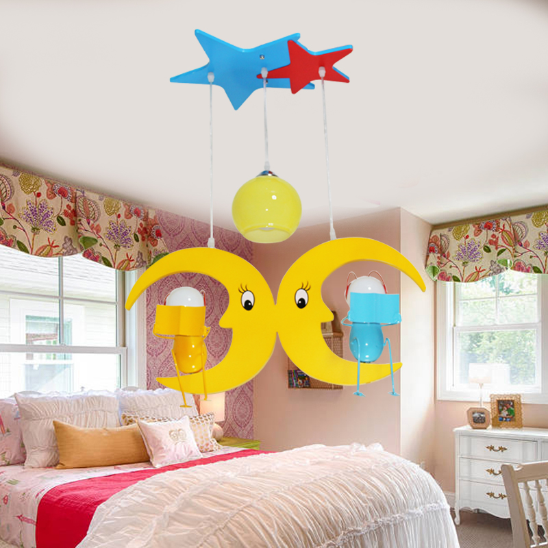 restaurant bedroom study Childrens room eye care Pendant Lights moon stars warm garden lamps and lanterns creative LU727272