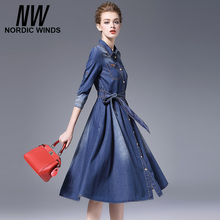 Nordic winds Jeans 2016 winter women fashion cowboy style three quarter sleeve turn down collar bow sashes A-line denim dress