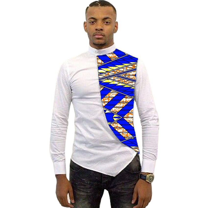 9b79f8f2e5be Asymmetrical design men dashiki shirt ankara male tops fashion bright wax patchwork  t shirt african clothing customized