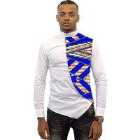 Asymmetrical Design Men Dashiki Shirt Slim Fit Men Tops Customized Africa African Clothes Fashion Patchwork T
