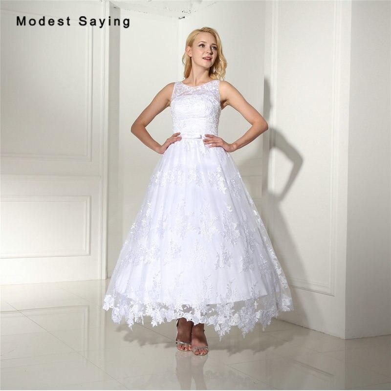 c18854cbd86 Элегантное Белое Бальное Платье Кружево Свадебные платья 2017 с бантом  Формальное Для женщин Чай-Длина Свадебные платья Vestido De Noiva  индивидуал.