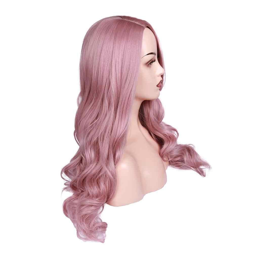 Wignee Pembe Saç Uzun Dalgalı Peruk Yüksek Yoğunluklu Isıya Dayanıklı Sentetik Peruk Kadınlar Için Doğal Siyah Kahverengi/Mor /kül Sarışın Peruk