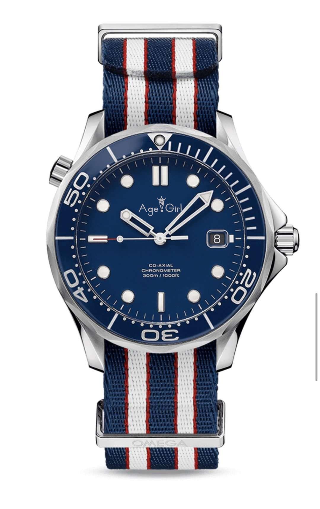 Здесь можно купить  Luxury Brand New Men Automatic Mechanical Watch Canvas Blue Red Black James Bond 007 Ceramic Bezel Crystal Sapphire Sport AAA+  Часы