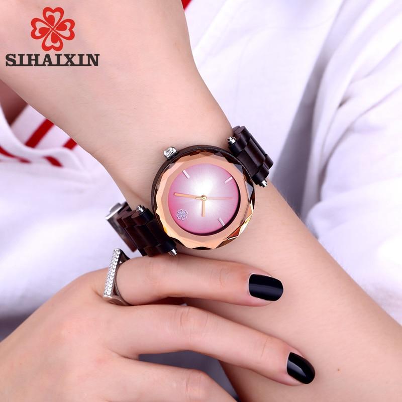 SIHAIXIN Natural Bamboo Women Wood Watch Ladies Luxury Black Wooden Band Strap Lady Fashion Designer Gem Female Clock Wrist 2018 stylish lady wrist watch black strap