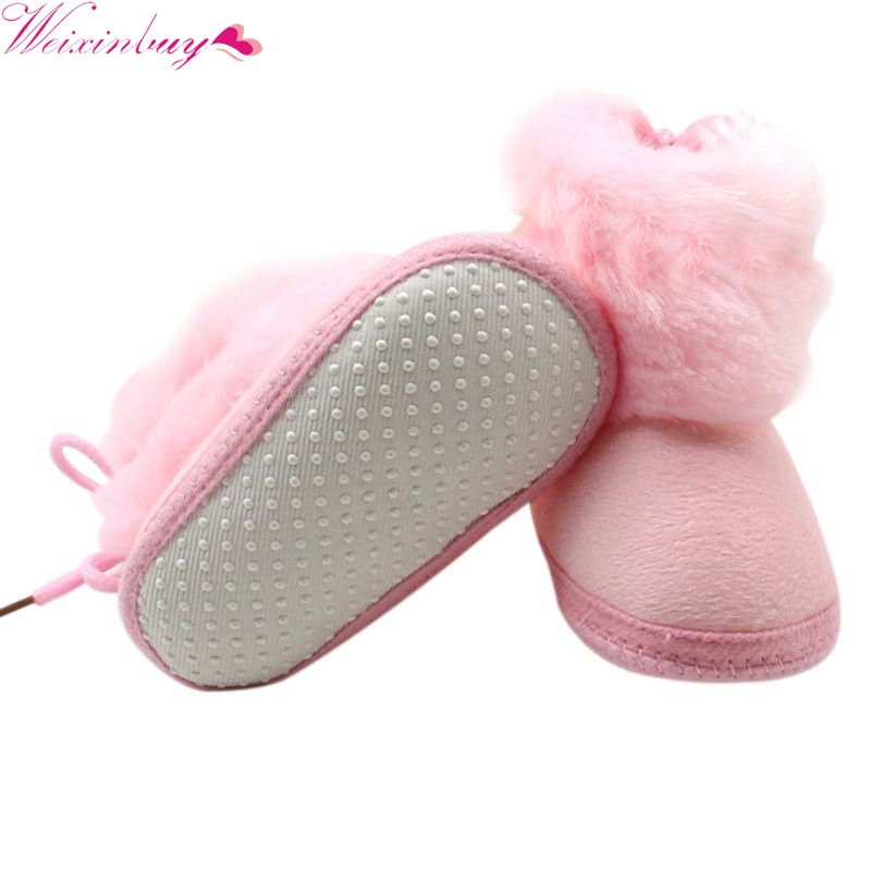 Winter Warm Booties Infant Baby Girl Toddler Boots With Butterfly-knot Anti-slip Velvet Warm Soft Sole Shoes