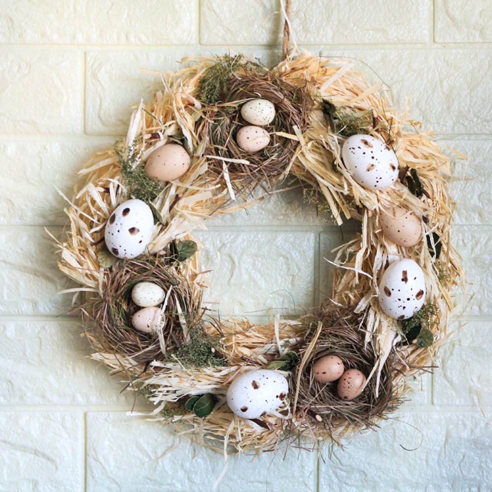 Handmade Spring Summer Wreath Door Home Decoration Accessories Home Wreath Easter Eggs Wreath Wedding Party Craft Decor