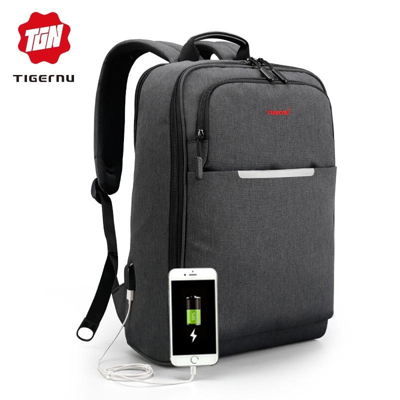 """Tigernu marque USB Charge hommes sac à dos Anti vol Mochila 1415 """"sac à dos pour ordinateur portable résistant aux éclaboussures homme sac à dos femmes sac d'école-in Sacs à dos from Baggages et sacs    1"""