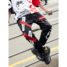 UNCLEDONJM Streetwear Stitching Color Joggers Hip Hop Pants Men Elastic Waist Cargo Tapered Pantalon Homme 072W