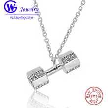 Gym Pendant Necklace Gift For Boyfriend Or Husband 925 Sterling Silver