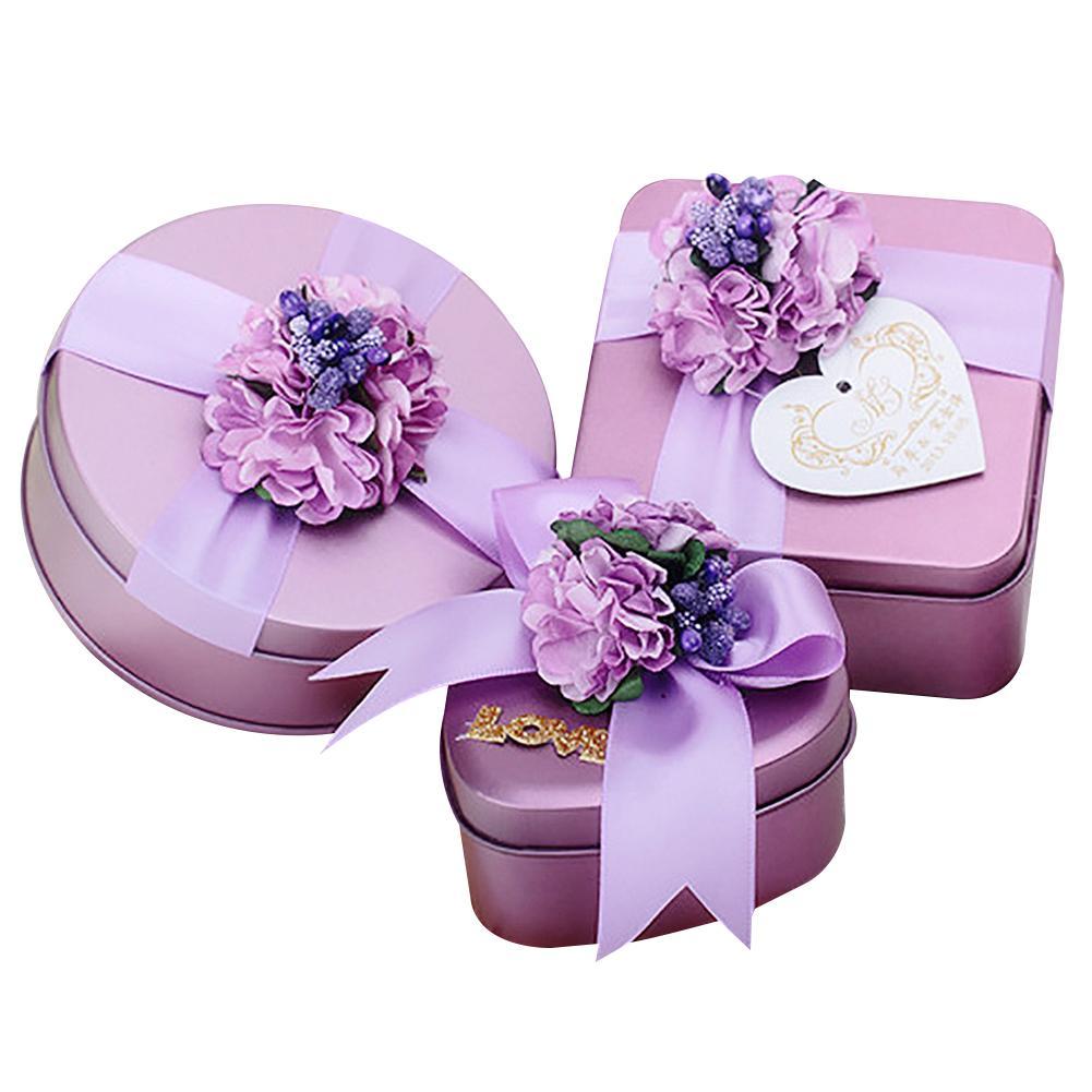 fe059e1692be 1 шт. фиолетовый любовь жесть конфеты коробка шоколада Малый прополка  подарочной коробке цветок бантом Декор случай свадьбы пользу чехол W3