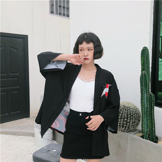 2018 New Korean Fashion Woman Kimono printed Crane kimono Chinese wind restoring ancient ways thin coat sun-protective clothing  3