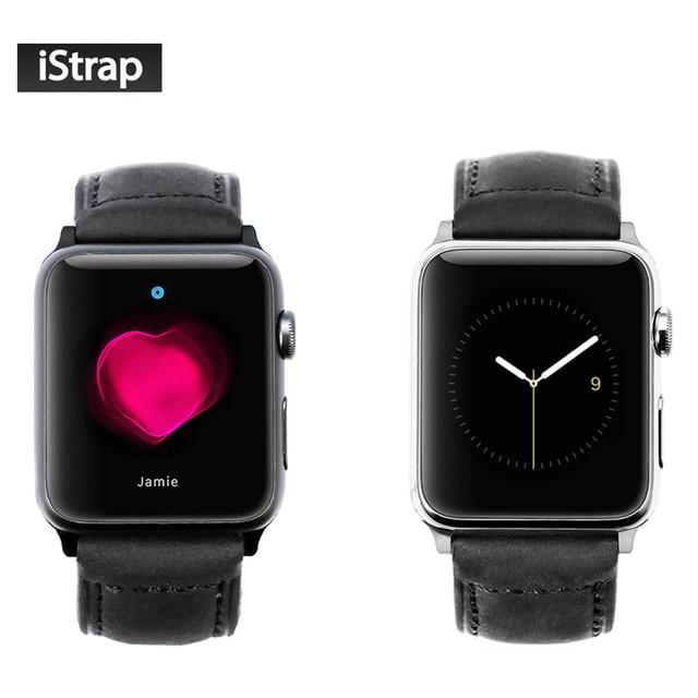 Istrap negro 42mm assolutamente venda de reloj de cuero para apple watch Adaptador de 42mm Con hebilla de Lengüeta Barra de Resorte Para iWatch 42mm caso