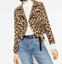 2016 Autumn New Woman ANIMAL Leopardo PRINT Crop JACKET Zipped Pockets Tab detail on the shoulders Belt at the hem Coat