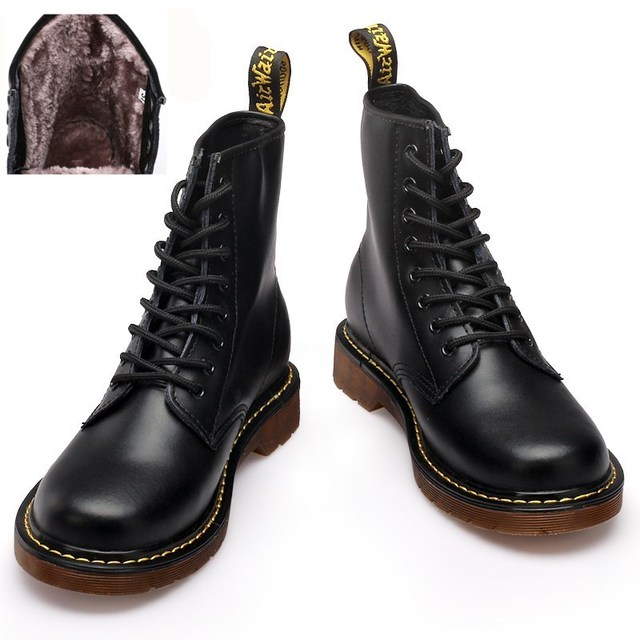 ブランド男性雪のブーツの革恋人冬のブーツとファーウォームオートバイアンクルブーツ男性靴ファッションマルテンスドクマルティンス靴