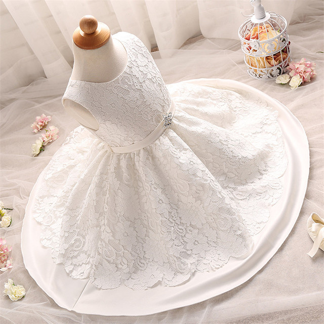 Sweet White Floral Pattern Newborn Dress For Christening First Year Birthday Wear Toddler Infant Tutu Dress Clothes For Newborn