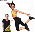 Hot Shapers Women Neoprene Thermal Slimming pants T shirt set Body Slimming suit sweating shapers waist trainer corsets