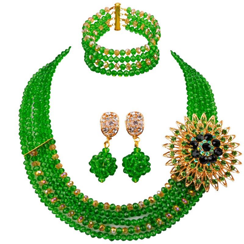Crystal Wholesale Green Gold AB New Style Fashion Lady and Girls Party Neckalce Earrings Bracelet Sets 5C ST 14
