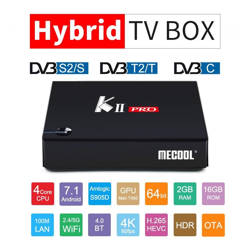 MECOOL Кии Pro Smart ТВ коробке с 1 года IP ТВ Cccam Европа арабский подписки DVB-S2 DVB-T2 Android 7,1 4 К Ultra HD Декодер каналов кабельного телевидения