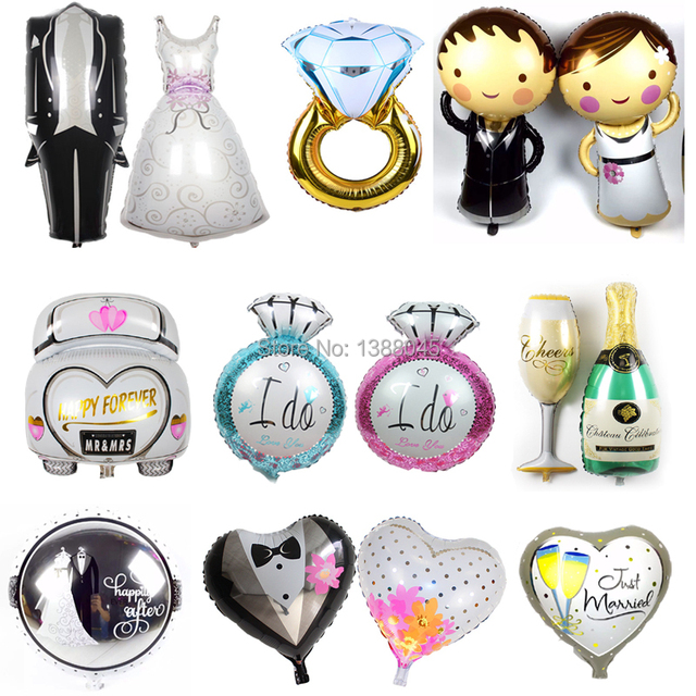 Bride And Groom Wedding Foil Balloons Party Decorations Helium Balloon Theme Globos