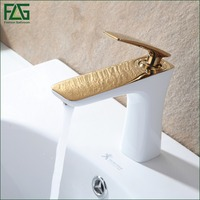 FLG Free Shipping Bathroom Faucet Grilled White Paint Chrome Finish Golden Brass Basin Sink Faucet Mixer