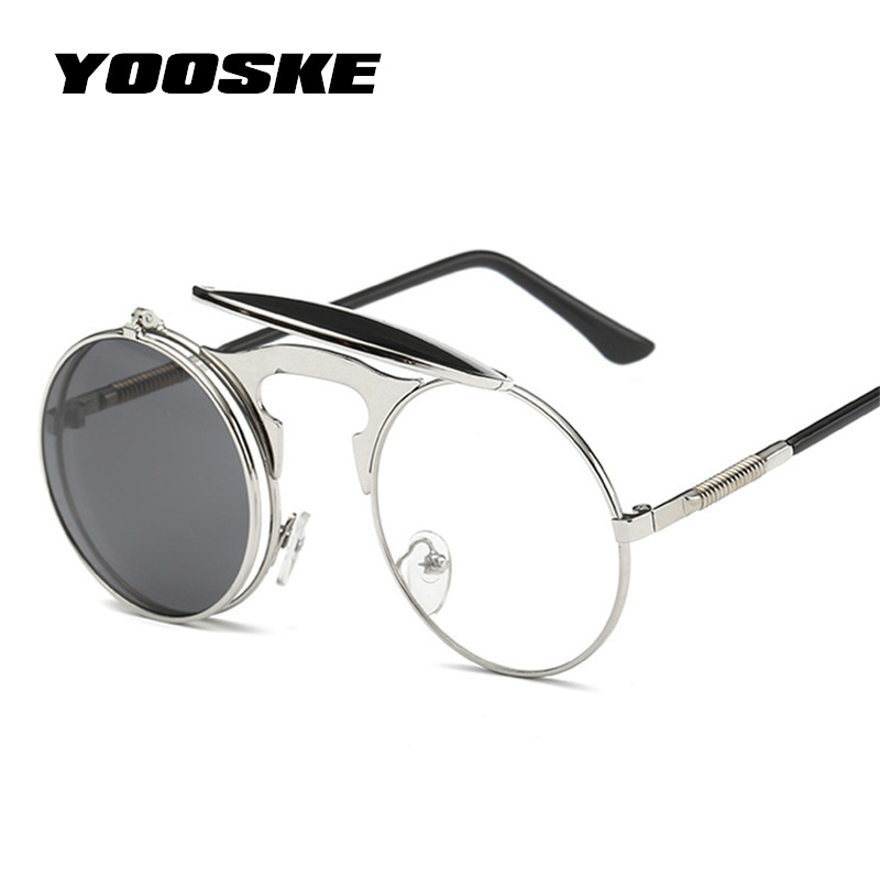 YOOSKE Vintage Steampunk Sunglasses Women Round Metal Frames Steam punk Sun Glasses Men Brand Designer Retro Eyewear UV400
