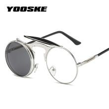YOOSKE Steampunk Round Sunglasses Women Men Vintage Flip Sun