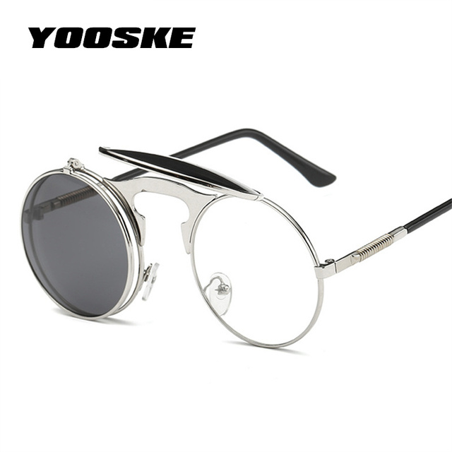 e2c51703748 YOOSKE Vintage Steampunk Sunglasses Women Round Metal Frames Steam punk Sun Glasses  Men Brand Designer Retro Eyewear UV400