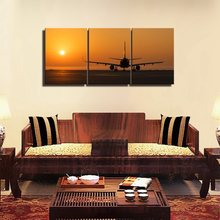 12x16inch Canvas Frame Art Airplane in the Yellow Dusk High Quality Landscape Poster and Print Home Decor Living Room Wall