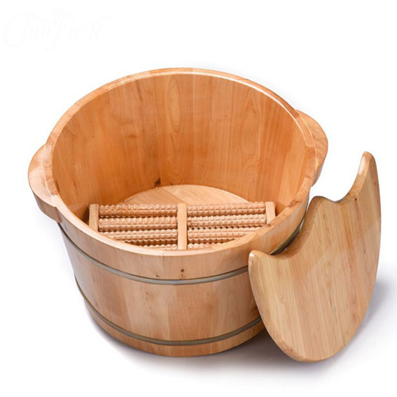 Barrel foot bath barrels of barrel bubble foot basin to wash feet real wood barrel massage home pedicure the bucket