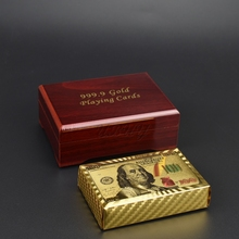 USA Design 100 Dollar Gold And Silver Foil Playing Cards Plastic With Wooden Box For Collection Gift
