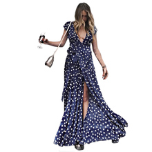 Women Holiday Polka Dots Slit Ladies Maxi Long Summer Print Beach Elegant Fashion  Cross V-neck  Sexy Wrap Dress Fashion fashion v neck cutout cross back front slit dress for women