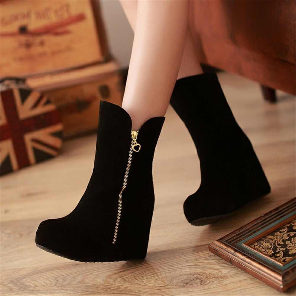 KARINLUNA yepyeni bayan takozlar yüksek topuklu Zip katı platform ayakkabılar kadınlar için rahat kış orta buzağı çizmeler siyah büyük boyutu 32-43
