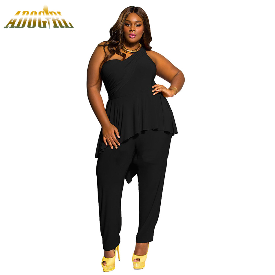 e20e0d8eb6 Plus Size M-2XL For Womens Jumpsuits Sexy Black One Shoulder Jumpsuit  Elegant Women Summer Ruffles Long Romper Playsuit Overall