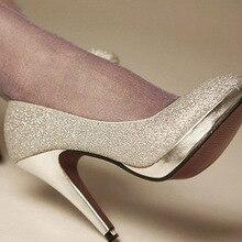 Neue Glitter Silber 10 cm Braut High Heels Schuhe Hochzeit Brautjungfer Schuhe Partei Schuhe Abendkleid Pumpen Größe 34-43