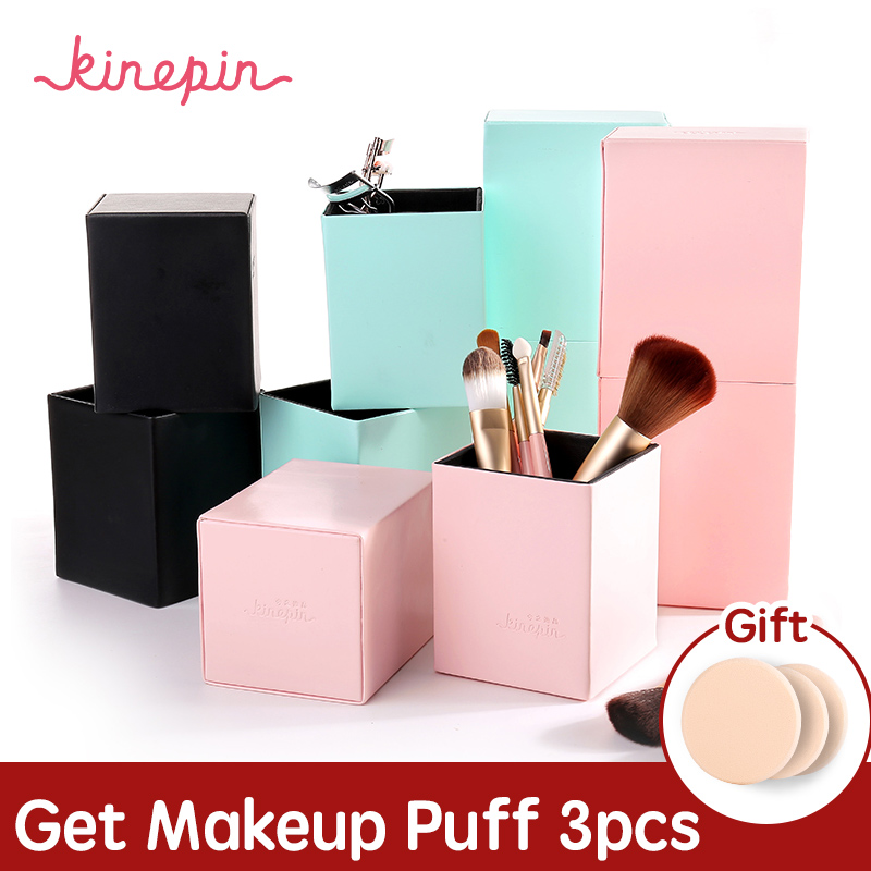 KINEPIN Makeup Brushes Holder Magnetic Make Up Brush Pen Holder Cosmetic Tool Organizer Empty Portable PU Leather Container pro makeup brush holder container empty pu leather cosmetic case portable storage organizer cup optional