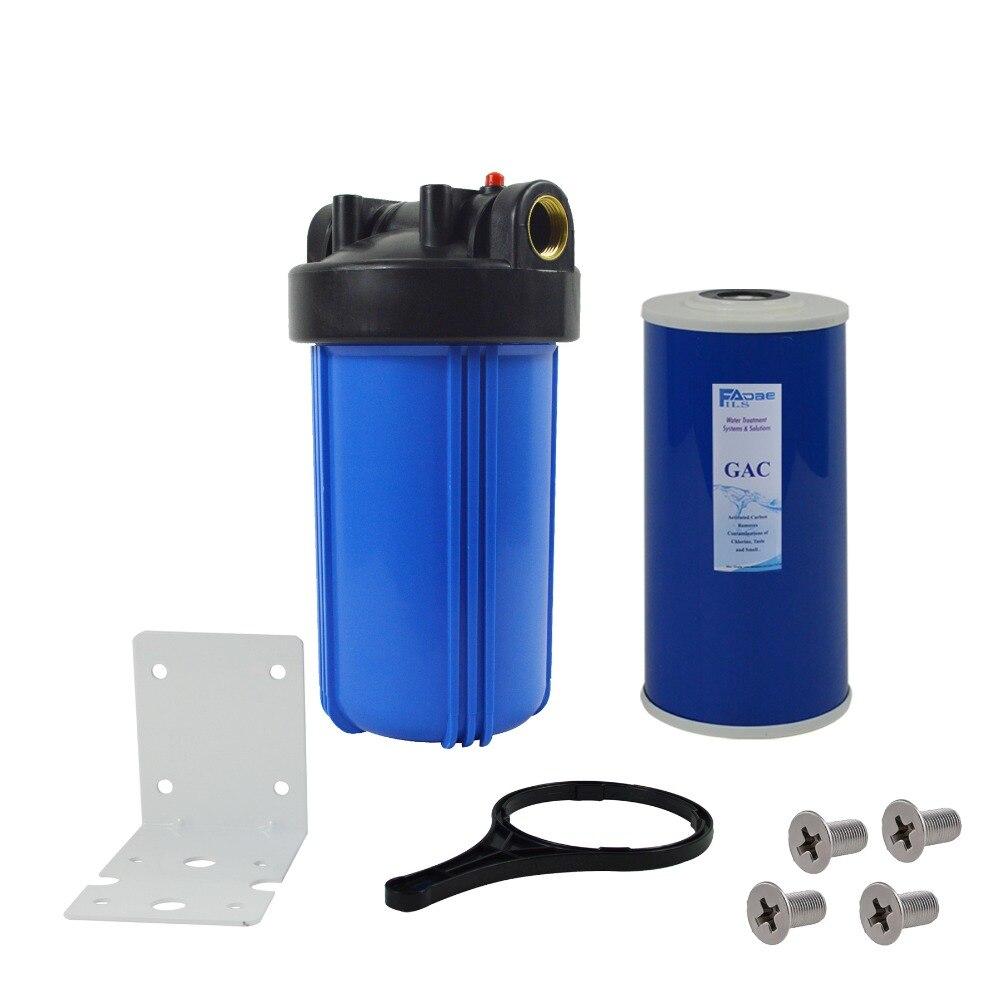 """Sistema de filtración de agua de 1 etapa con filtro de carbón activado de 10 pulgadas, soporte de montaje, tornillo y llave inglesa, entrada de 1"""""""