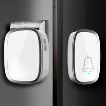 New White EU/US Plug Wireless Doorbell Waterproof Smart 36 Melody Led Ring Door Bell AC220V 2 Push Doorbells Button +2 Receivers