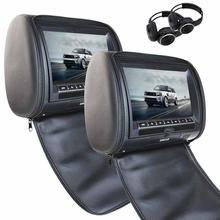 Black Car Headrest DVD Player 9'' HD LCD Screen Car Monitor Video Player Entertainment System with FM Game Mp3 IR Headphones x2