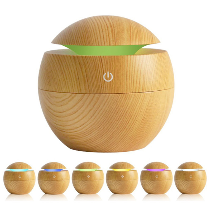 Cool Mist Humidifier 130ml Wood Grain Usb Ultrasonic Aroma Essential Oil Diffuser for Office Bedroom Living Room Study Yoga Spa